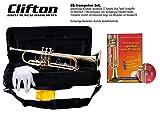 Trompete für Anfänger wie auch Fortgeschritteme, Bb, Textil Formkoffer, Mundstück Yamah Style C7, Lernbuch mit Karaoke CD
