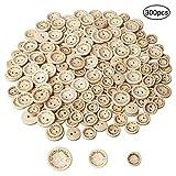 Nuosen 300 Stücke Handmade Runde Holzknöpfe, Naturfarben knöpfe zum Nähen und Basteln von Dekorationen (3 Verschiedenen Größe)