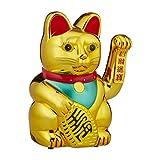 Relaxdays Winkekatze, XL Maneki Neko, batteriebetriebene winkende Pfote, Glücksbringer für Reichtum, Erfolg, 30 cm, Gold