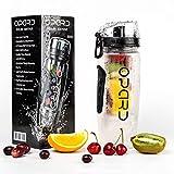 Opard Wasserflasche 1 Liter Fruit Infuser Sports Trinkflasche Water Bottle Tritan BPA-frei mit Kühlung Obst Flasche Kunststoff (Schwarz)