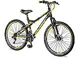 breluxx 26 Zoll Mountainbike Hardtail Venera Sport Vortex Yellow, 18 Gang Shimano, Scheibenbremse Frontfederung MTB, inkl. Schutzbleche + Reflektoren, Modell 2019