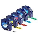 5x Kompatibel Dymo plastic white 12mm x 4m letraTag Etikettenband kompatibel mit DYMO LT-110T LT-100H QX 50 XR XM 2000 Plus (91201-91205)