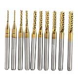 10 stücke Titan Beschichtete Schaftfräser Set Hartmetall CNC Fräser Gravur Bits Carving Drill Werkzeuge 1,0-3,0mm