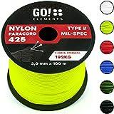 GO!elements 100m Paracord Seil aus reißfestem Nylon - 3mm Paracord 425 Typ II max. 192kg - Schnüre als Outdoor Seil, Allzweckseil, Survival Seil, Armband, Hundeleine, Nylonschnur, Farbe:Neon
