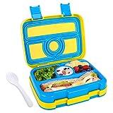WayEee Lunchbox für Kinder Bento-Box mit 4 Fächern BPA-freier Essen Container mit Löffel Ideal für Schule, Picknicks, Reisen (Blau Gelb)