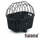Tigana - Hundefahrradkorb für Gepäckträger aus Weide 44 x 34 cm mit Metallgitter und Kissen Eckig Tierkorb in Schwarz (S-S)