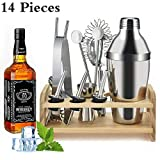 SUPERSUN 14 Stück Cocktail Set, Cocktail Shaker Edelstahl, 550ml Cocktailshaker Set Cocktail Bar Set Bar Zubehör Shakerset mit Sieb