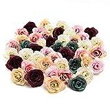 NWSX Künstliche Blumen, Kunstblumen Köpfe, Seidenblumen im Verlierer Schüttung Großhandel, Seidenrose, Blütenköpfe für Hochzeitsdekoration 30stücke 3.5CM (Multicolor)