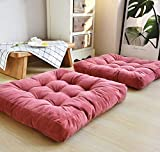 Seat cushion Solide Quadratische Boden Kissen,getuftet Verdicken Sie Cord Stuhl-Pads Für Büro Yoga Meditation Balkon Tatami Bodenkissen-rot 55x55cm(22x22inch)