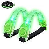 Alviller 2 Stuck LED Armband, Reflective LED Armbänder Leuchtband Reflektor Kinder Nacht Sicherheits Licht für Laufen, Joggen, Hundewandern, Bergsteigen, Running, Jogging und Outdoor Sports (Grun)