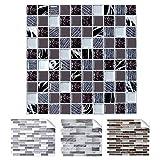 Grandora 1 Stück 25,2 x 25,2 cm Fliesenaufkleber Silber schwarz braun marmoriert Mosaik I 3D Selbstklebende Fliesen Küche Bad Wandaufkleber Fliesendekor W5570