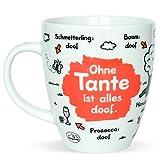 Sheepworld 45137 Tee-Tasse mit Motiv Ohne Tante ist alles doof, Porzellan, Geschenk Tante, 45 cl