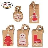 Amaza 100pcs Geschenkanhänger Kraftpapier Geschenk Anhänger Etiketten Papieranhänger Weihnachten mit Jute Schnur Weihnachtsbaum Dekorieren (5 Muster)