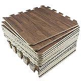 Umi. Essentials 1' x 1'(30cm x 30cm ) Ineinandergreifende Bodenmatten aus Schaumstoff (Holzmaserung) (18 Pcs) (Dunkel)