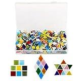 Kesote 600 Stück Glas Mosaiksteine (Raute, Dreieck, Quadrat)
