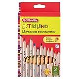 Herlitz 10412062 Trilino Buntstifte 12er 3-kant aus FSC Holz