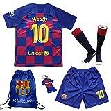 TMB 2019/2020#10 Leo Messi Barcelona Heim Kinder Fußball Trikot Hose und Socken Kindergrößen (Heim, 24 (7-8 Jahre))