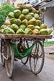 Alu-Dibond-Bild 80 x 120 cm: 'Verkaufsstand mit Kokosnüssen mit Schale in Indien', Bild auf Alu-Dibond