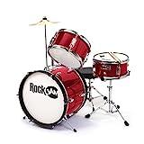 RockJam RJ-103 MR 3-Teile Junior Schlagzeug-Satz mit Crash-Becken (Trommelstecken, einstellbarer Thron, Zubehör) rot