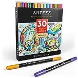 ARTEZA Textilstifte | 30 Verschiedene Textilmalstifte | Textilmarker mit Doppelspitze | Permanente und Maschinenwaschbare Tinte | Ideal zum Färben von Jeans, T-Shirts, Turnschuhen, Rucksäcken, Jacken
