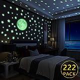 Yosemy Wandsticker Leuchtaufkleber, 222 Sticker Sterne und Mond fluoreszierend Wandaufkleber, Leuchtstoff Aufkleber Für Kinderzimmer Zimmer Home Dekorative Aufkleber