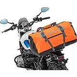QBag Motorrad-Hecktasche Hecktasche/Gepäckrolle wasserdicht 11, universell, Einschubtaschen, robuster Boden, Stabiler Stand, universelle Passform für Fast alle Motorräder, Orange, 80 Liter
