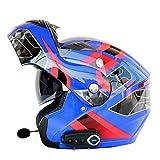 JPFCAK Motorrad Bluetooth Headset, Stereo-Sound, Kommt mit FM, Männlich und Weiblich, Double Lens Offenen Gesichts Helm, Cruiser, City, Roller Helm, Sport, ECE-Zertifizierung, L-2XL,Blue-L=59-60cm
