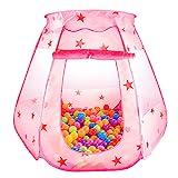 Kinder Spielzelt Princess Pop UP Zelt Bällebad Haus Burg für Mädchen zur Verwendung drinnen oder draußen, Rosa