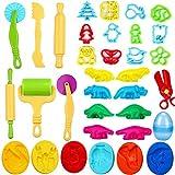 JWTOYZ Knetwerkzeug Kinder, Knete Werkzeug Knete Zubehör, Ausstechformen für Knete, Knete Dinosaurier Set mit PVC-Aufbewahrungstasche
