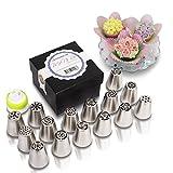 MoNiRo Spritztüllen Set aus Edelstahl   15 Russische Russische Tüllen + Silikon Spritzbeutel   Deko Backset   Aufsätze für Torten, Cupcakes, Kuchen