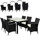 PolyRattan Sitzgruppe 6+1 Schwarz Gartenmöbel Lounge Sitzgarnitur Essgruppe  stapelbare Stühle  wetterfestes Polyrattan  7cm Sitzauflagen  Modellauswahl