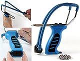 Steinschleuder mit Kugelmagazin -K&B Vertrieb- BLAU + Ersatzgummi + 90 Stahlkugeln 014 Futterschleuder Sportschleuder Schleuder (1 Stück)