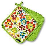 KAMACA Küchen-Serie FLOWER POWER wunderschönes farbenfrohes Blumen Motiv hochwertig mit Baumwolle eine schöne kleine Geschenk - Idee (2 x Topflappen (=1 Paar))