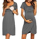 Nachthemd Damen Lang Stillnachthemd Modal Nachtkleid Umstandskleid Kurzarm Pyjama Negligee mit Taschen und Knopfleiste Schwarz S bis XXL