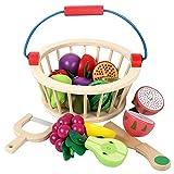Homeng 12-teiliges magnetisches Holzspielzeug für Kinder, zum Spielen von Lebensmitteln aus Holz, zum Schneiden von Obst, Spielzeug mit Korb