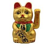 Superfreak Winkekatze Glückskatze winkende Katze aus Keramik°Maneki Neko, Größe: 26 cm - gold