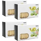 com-four 4000 Zahnstocher aus Holz, Zahnhölzer in Spender-Box, 63 mm lang (4000 Stück - Set6)