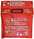 Löschdecke 1,60 x 1,80 m Geprüft durch MPA Dresden nach DIN EN 1869:2001, Prüfnummer: 2008-F-3416 , in roter Tasche mit Klettverschluß zum Aufhängen an 2 Ösen aus weißem Hitzebeständigem Glasgewebe mit aufgenähten grauen Grifftaschen zum Schutz der Hände vor den Flammen , 160x180