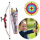 Womdee Kinder Bogenschieß-Set, Bogenschießen und Pfeil Set - Bogenschießen Set für drinnen und draußen Spaßspiel für Kinder - Jagdserie Spielzeug mit Bogenschießzubehör rot