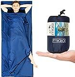 MIQIO Hüttenschlafsack 2in1 mit durchgängigem Reißverschluss |Reiseschlafsack (90 x220cm) und Reisedecke (Travel-Sheet) in Doppelbettgröße (180x220cm) in Einem | Innenschlafsack Inlett /Inlay