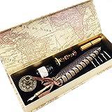 GC Kalligraphie-Stift-Set - Luxus Dip Pen und Tinte Set mit 5 Spitzen, Stifthalter, Siegelstempel und Wachs in Geschenkbox
