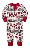 ECOWISH Weihnachten Schlafanzug Familien Outfit Mutter Vater Kind Baby Pajama Langarm Nachtwäsche Print Sleepwear Top Hose Set 162 Baby 3M