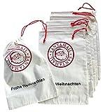 5x Nikolaussäckchen | Weihnachtssäckchen | Nikolausbeutel | 30x20cm | Weihnachts-Beutel | wiederverwendbar | Christmas-Beutel | Stofftasche | Santa-Mail | Geschenkverpackung | X-MAS Geschenksack BRD