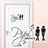 Grandora W755 Wandtattoo Pipi Lounge Mann Frau I schwarz 27 x 18 cm I WC Türaufkleber Piktogramm Bad Badezimmer Wandaufkleber Wandsticker