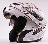 Doppelvisier-Jethelm / Klapphelm / Motorrad-Helm / Motorrad-Integralhelm, in Weiß, für Motorradfahrer / Rollerfahrer
