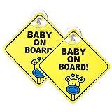Meowoo Baby an Bord Aufkleber Kind Auto Aufkleber Hitzebeständig, Kein Ausbleichen (Gelb 2stk)