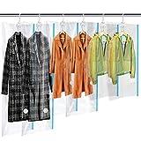 MRS BAG Hängend Vakuum Platzsparer mit Kleiderhaken - Set aus 6 (2*Extragroß + 2*Groß + 2*Kurz) Vakuumbeutel mit Handpumpe für Kleidung Aufbewahrung