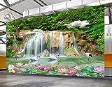 Fototapete 3D Effekt Tapete Wasserkaskade Vliestapete 3D Wallpaper Moderne Wanddeko Wandbilder