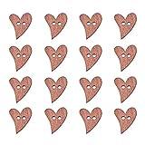 PandaHall - Herzförmige Holzknöpfe, 2-Löcher, Sienna, ca. 20 mm lang, 16 mm breit, Bohrung: 2 mm, 100 Stk. / Beutel