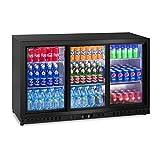 Royal Catering Flaschenkühlschrank Getränkekühlschrank mit Glastür RCGK-B320-3 (320 L, 116 W, 6 Einlagen, verschließbare Schiebetüren, Temperaturbereich 4–8 °C)